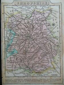 Small Hand Coloured County Georgian Map of Shropshire (c1820) England Borders