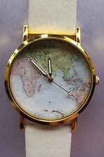 Unisex Womens Mens World Map Leather Alloy Quartz Wrist Watch Globe Analog white