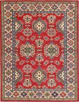 NEW Geometric Super Kazak Oriental Area Rug Wool Hand-Knotted Carpet 5x7 RED