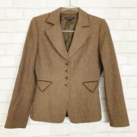 Tahari Womans Tweed Blazer 100% Wool Jacket Size 4