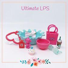 Littlest Pet Shop Lot Cat Dog Pink Blue Accessories Bed Starbucks & Gift Bag
