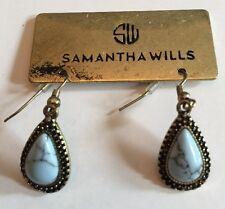 SAMANTHA WILLS Signed~Gold Tone & Black Trim~Blue Marbled Dangle Earrings~NWT