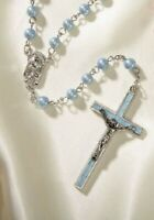Blue Rosary with two prayer Cards and a gift box