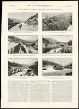 1889 antica stampa USA Golden Gate MINIERA Feather River letto California (6)