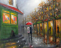 100%HAND-PAINTED ART ACRYLIC OIL PAINTING ABSTRACT RAINY CITYSCAPE  16X20 INCH