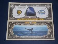 ENDANGERED BLUE WHALE UNCIRCULATED MILLION DOLLAR U.S. BANKNOTE!
