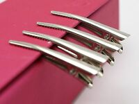 50 Silver Metal Round Top Prong Alligator Hair Clips 40mm with Teeth Bows