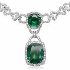 LARGE 24.9CT DIAMOND & CUSHION AAA EMERALD 18K 2TONE GOLD LARIAT TENNIS NECKLACE