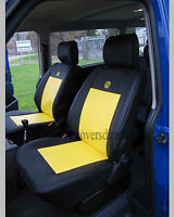 VW Transporter T4 Waterproof Tailored Van Captain Seat Covers Black & Yellow