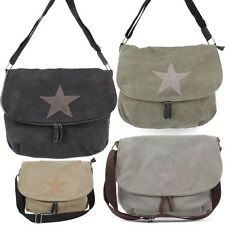 Messenger Cross Bag Umhänge Schul Tasche Leder Canvas Jeans Stoff Shopper Stern