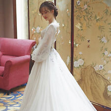 Princess V Neck Wedding Dress Crystals Lace Tulle Bridal Gown with Long Sleeves