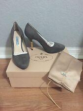PRADA Women Camoscio Metal Gray Suede Almond Toe Metal Heel Pumps Heels 7.5 NEW