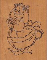 "clover bunny stamps happen Wood Mounted Rubber Stamp 2 1/2 x 3"" Free Shipping"