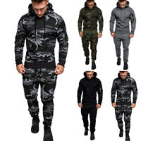 Mens Tracksuit Fitness Sport Print Pullover Hoodie Fashion Workout Tops Pants
