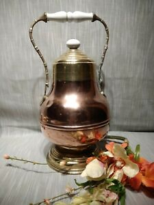 Antique Coal Scuttle Ash Bucket Brass Bronze Porcelain Fireplace Heath Ware