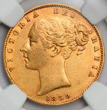 RARE & HIGH GRADE 1859 Queen Victoria Gold Sovereign - NGC AU-55