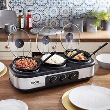 Cooks Professional Triple Pot Slow Cooker Lids Removable Ceramic 3 x 1.3L Bowls