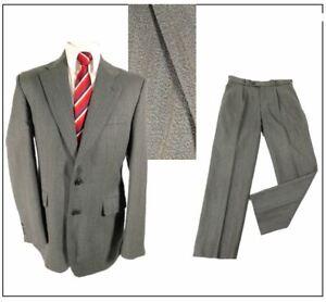 "Scott International 2 piece mens  suit Ch40""R W34"" L31"" Grey Herringbone Stripe"