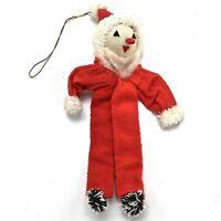 Vintage Santa Claus Christmas Ornament Felt Chenille Japan NO Bendable Wires