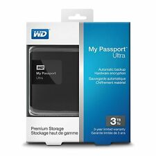 WD 3TB Black My Passport Ultra Portable External Hard Drive WDBBKD0030BBK-NESN