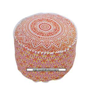 Ottoman Cover Wonderful Pouffe Mandala Design Beautiful Cotton Fabric Handmade
