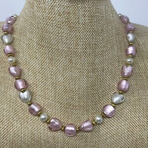 Handmade Necklace of Foil Lined Pink and Clear Glass Heart Beads w/ Glass Pearls