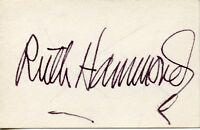 RUTH HAMMOND Vintage Original AUTOGRAPH CARD RARE Silent Film Actress