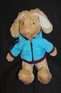 "Brown  Bunny Rabbit Blue Zippered Hoodie Pink Nose Dan Dee Plush 18"" Toy Lovey"