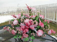 Pink Carnations Cemetery Grave Marker Tombstone Saddle