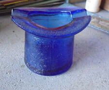 "Vintage Lowell Hand Cream Blue Cobalt Glass Top Hat Ashtray 2 1/4"" Tall"