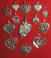 Herz - Herzen - Anhänger - Liebe - Charivari - Dirndl - Tracht - silberfarben
