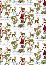 Christmas Gift Wrap Santas 4 Sheets with 8 Matching Gift Tags Wrapping Paper