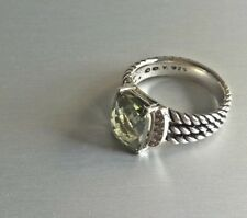 David Yurman Sterling Silver & Diamond 10x8mm Wheaton Prasiolite Ring Size 5.5