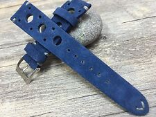 New Blue Color Suede Leather racing / rally strap for Luxury Watch