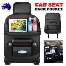 Foldable Car Back Seat Organiser Leather Storage Bag Table Tray iPad Cup Holder