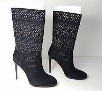$280 size 6 Dolce Vita  Mia Lasercut Heels Black Suede Mid Calf Womens Boots NEW