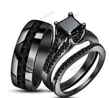 4.1/2 Ct.T.W Lab Diamond Wedding HisHer Women Mens Trio Ring Set Black Gold Over