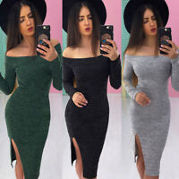 Women's Off Shoulder Bodycon Long Sleeve Evening Party Cocktail Club Mini Dress