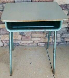 Vintage Turquoise Industrial Mid-Century Student School Desk w/ Adjustable Legs