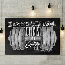 Fitness Lifting I Can Do All Things Through Christ Who Strengthens Me Canvas