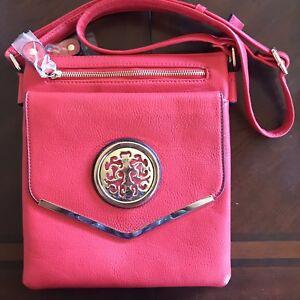 Faux Leather Crossbody Messenger Bag Handbag Purse Red NEW Dasein Vegan Leather