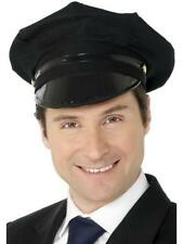 Chófer Sombrero para hombre Negro Fancy Dress Controlador Accesorio Disfraz Adulto uniforme