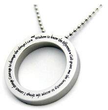 "Serenity Prayer Necklace Circle Disc Stainless Steel Pendant Round 24"" Silver"
