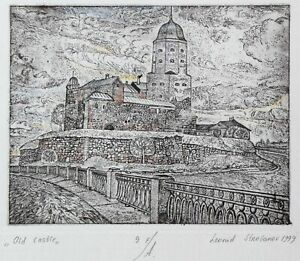 OLD CASTLE in Vyborg Original etching by Leonid STROGANOV, Russian