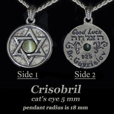Pendant Cat's Eye Chrysoberyl Sterling Silver Star of David Lucky Stone Handmade