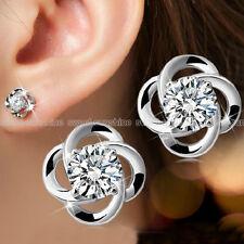 Women's 925 Sterling Silver Swirl Stud Round Crystal Earrings CZ Cubic Zirconia