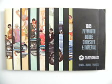 Brochure CHRYSLER 1965 Plymouth.Dodge.Chrysler.Impérial