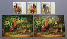 2001 Malaysia Birds --- Bantams 3v + MS + Overprint MS Phila Nippon (Lot A) Mint