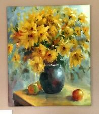 "Beautiful Oil Painting Still Life Of Wild Flowers in Vase Signed 24x20"" Canvas"