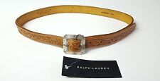 RALPH LAUREN BLACK LABEL CONCHO INSPIRED TAN LEATHER BELT STYLE# 411164476